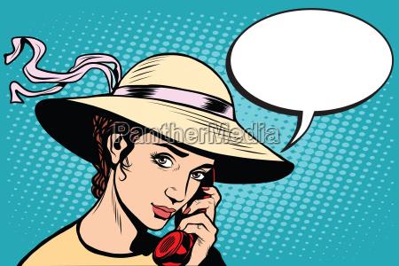 retro woman talking on the phone