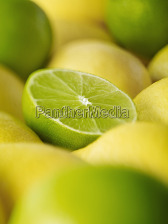 extreme close up of sliced lime