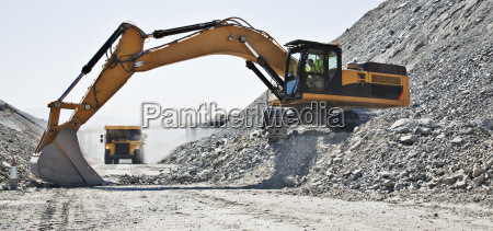 digger working in quarry