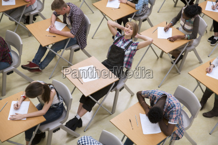 students writing their gcse exam in