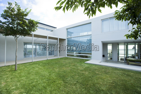 lawn in front of modern house