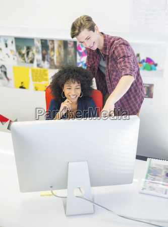 business people working at computer in