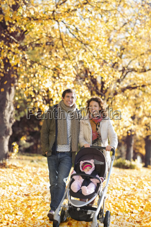 family walking together in park