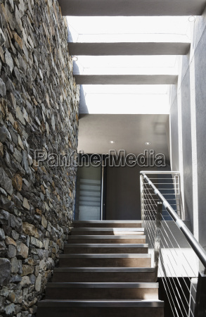stairs and stone wall in modern