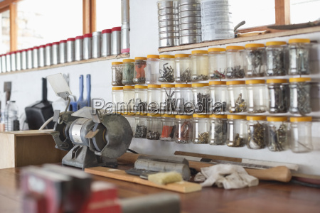 jars and counter top in workshop