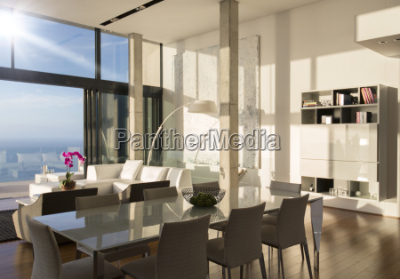dining and living space in modern