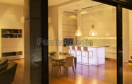 kitchen and dining area in modern