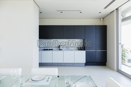set table in modern kitchen