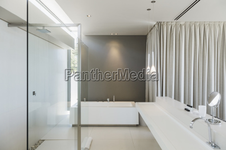 sink bathtub and shower in modern