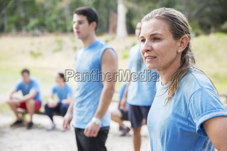 woman looking away at boot camp