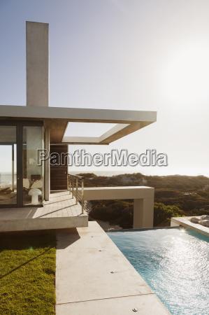 lap pool outside modern house