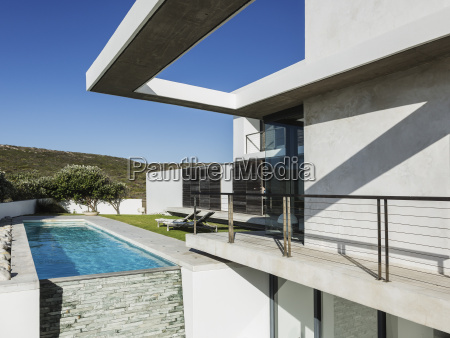 balcony and lap pool of modern