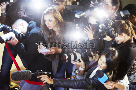 high angle view of paparazzi photographers