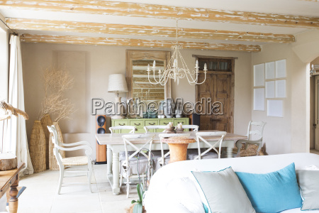 living and dining area in rustic