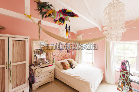 decorations in bedroom of rustic house