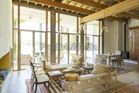 living and dining area of rustic