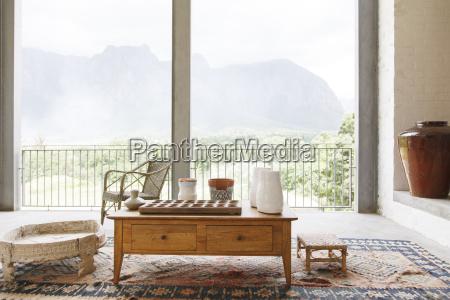 coffee table in living room overlooking