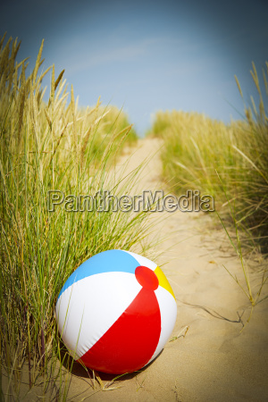 beach ball in beach grass