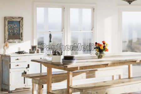 wooden table in dining room