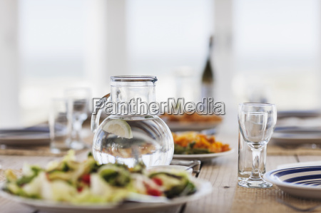 food and water on set table