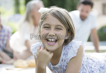 girl laughing outdoors