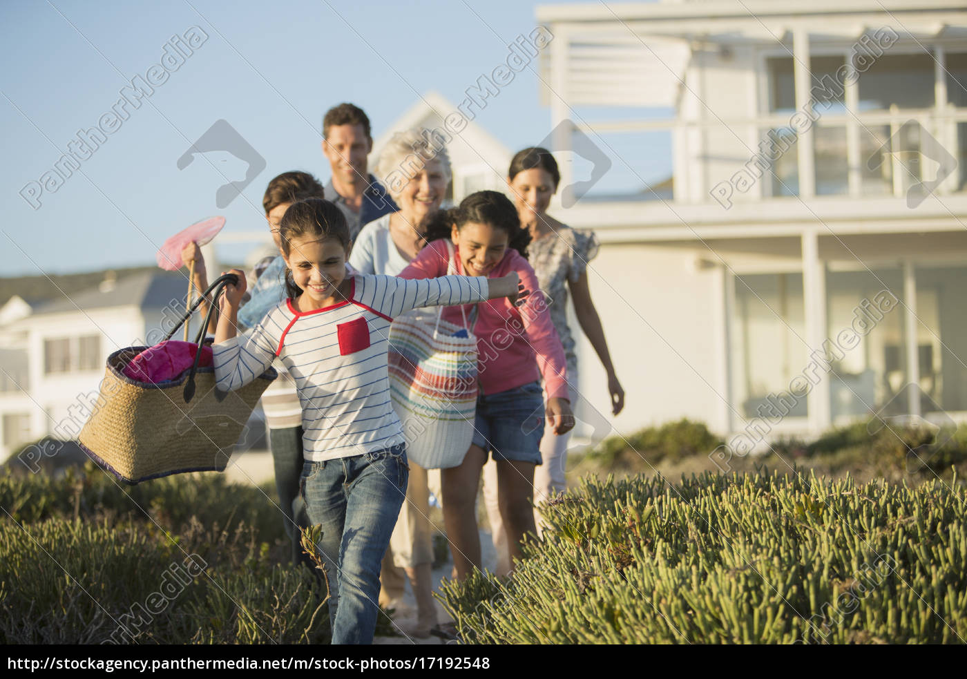 family, walking, on, beach, path, outside - 17192548