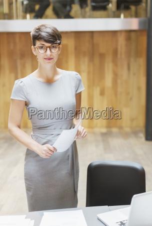portrait confident businesswoman in office