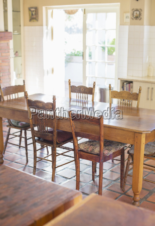 dinning table in household kitchen