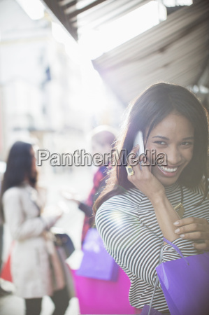 woman talking on cell phone on
