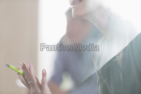 close up senior businesswoman gesturing in