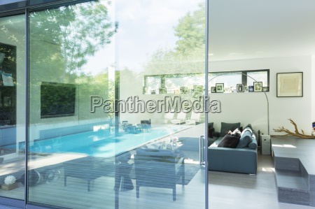 reflection on glass window of modern