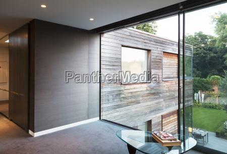 glass wall of modern house