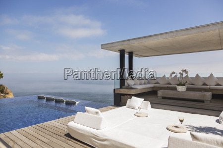 cabana and infinity pool overlooking ocean