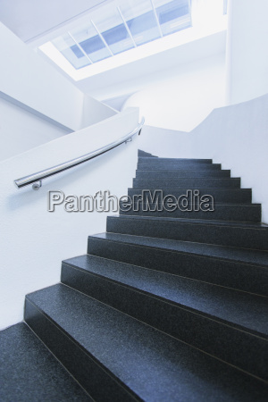 black and white winding staircase of