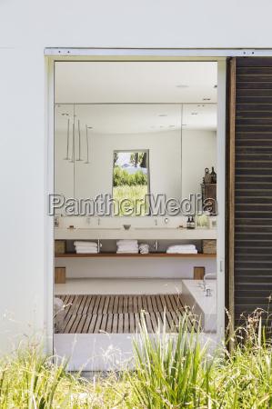doorway to modern bathroom