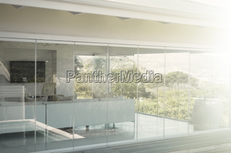 modern house interior seen from outside