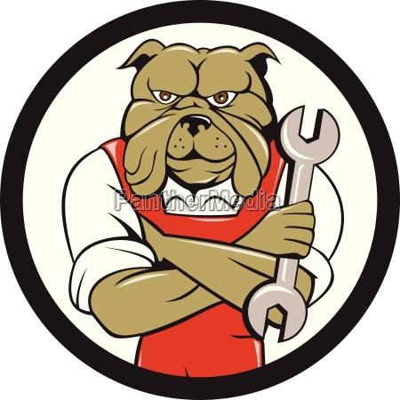 bulldog mechanic arms crossed spanner circle