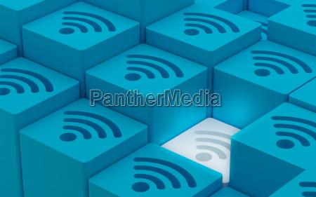 3d wi fi wireless network symbols
