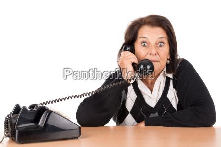 senior woman with phone
