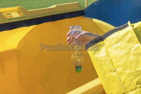 sorting plastic hosehold waste concept