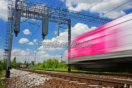 modern electric passenger train moving on
