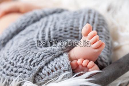 beautiful newborn baby toes inside a
