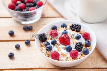 healthy and nutritious yogurt with cereal