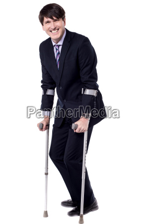 disabled person is on crutches