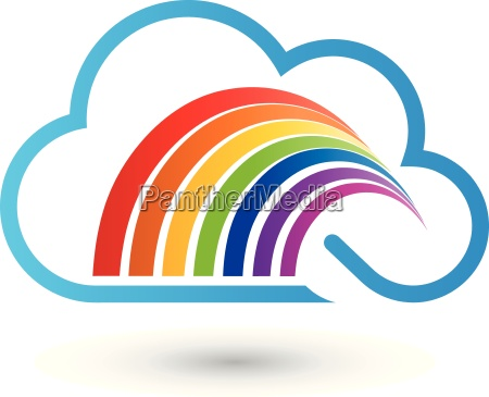 cloud and rainbow painter logo