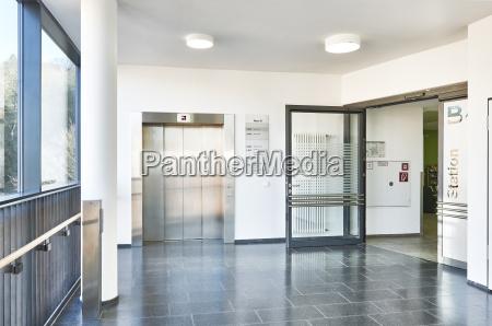 hallway hospital hallway elevator open