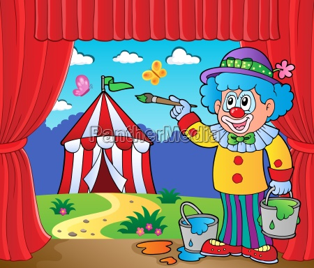 clown painting image of circus on