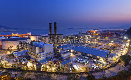 petrochemical industrial plant at night