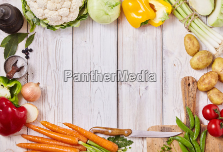 frame of healthy fresh farm vegetables