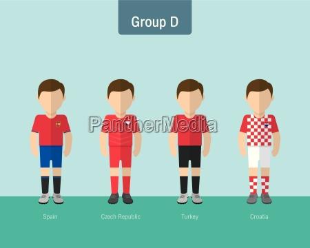soccer uniform group d flat design
